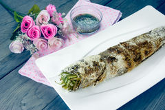 Grill striped snakehead fish with salt coated,filter effect Stock Image