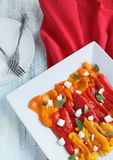 Grill sweet peppers and feta Stock Photos