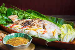 Grill Tilapia Fish. With Vegetables royalty free stock photos