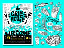 Grill Time Party BBQ food poster. Grilled food, meat fish vegetables grill appliance fork knife chicken shrimps lemon spice. Grill House Party BBQ food poster stock illustration