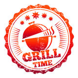 Grill time vector label design. On white background Stock Image
