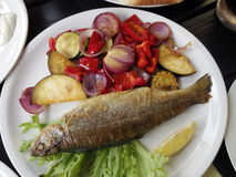 Grill trout steak with vegetable. Grill lake trout steak with vegetable Stock Images