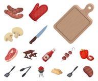 Grill- und Ausrüstungskarikaturikonen in der Satzsammlung für Design Picknicken Sie und briet Lebensmittelvektorsymbol-Vorratnetz vektor abbildung