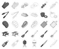 Grill- und Ausrüstungsmonochrom, Entwurfsikonen in gesetzter Sammlung für Entwurf Picknick und gebratener Nahrungsmittelvektorsym lizenzfreie abbildung