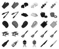 Grill- und Ausrüstungsschwarzes, einfarbige Ikonen in gesetzter Sammlung für Entwurf Picknick und gebratener Nahrungsmittelvektor vektor abbildung