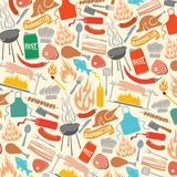 Grill- und Lebensmittelikonen stock abbildung
