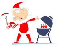 Grill- und Santa Claus-Illustration stock abbildung