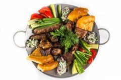 Grill ustawiający z warzywami Obrazy Stock