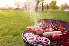 Grill with various delicious barbecue outdoor, selective focus.  stock photos