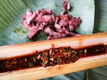 Vary rare meat. Grill vary rare meat on banana leaf stock photo