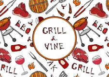Grill and Vine. Seamless Pattern of Summer BBQ Grill Party. Glass of Red, Rose, White Vine, Steak, Sausage, Barbeque Grid, Tongs,. Fork, Ketchup. Hand Drawn vector illustration