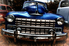 Grill of Vintage Blue Automobile Royalty Free Stock Photo