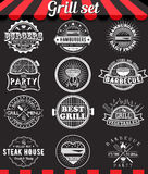 Grill Vintage Design Elements And Badges Set On Chalkboard Royalty Free Stock Photos