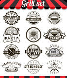 Grill vintage design elements and badges set. Collection of barbecue vector signs, symbols and icons. Set of bbq design elements. Burgers badges stickers and Stock Image