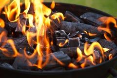 Grill in vlammen Royalty-vrije Stock Foto