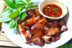 Grill wieprzowina w tajlandzkim stylowym jedzeniu Zdjęcia Stock