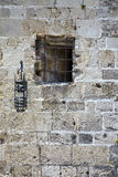 Grill window and lantern of an ancient building, Rhodes island, Royalty Free Stock Images
