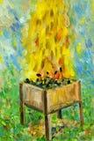 Grill z płonącą łupką i węglem royalty ilustracja