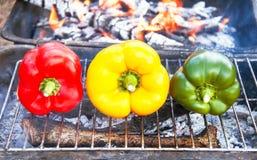 Grilla grönsaker (peppar, paprika) på gallret Royaltyfri Foto