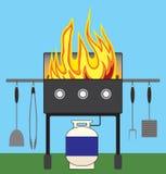 Grilla grill na ogieniu Zdjęcie Stock