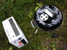 Grilla grill, stki, cutlets, smażył ryby, warzywa i inny jedzenie fotografia royalty free