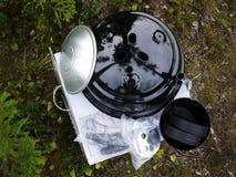 Grilla grill, stki, cutlets, smażył ryby, warzywa i inny jedzenie zdjęcie royalty free