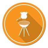 Grilla grill z kurczak ikoną Zdjęcia Royalty Free