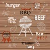 Grilla grilla etykietki dla jakaś use na drewnianym i ikony, Obrazy Stock