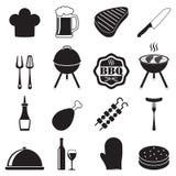Grilla grilla ikona ustawiająca na białym tle BBQ symbole również zwrócić corel ilustracji wektora Fotografia Royalty Free