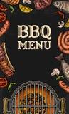Grilla grilla odgórny widok z węgla drzewnego, pieczarki, pomidoru, pieprzu, kiełbasy, cytryny, ryba i wołowiny stkiem, Karmowa r ilustracja wektor