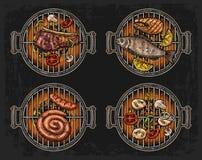Grilla grilla odgórny widok z węgla drzewnego, pieczarki, pomidoru, pieprzu, kiełbasy, cytryny, ryba i wołowiny stkiem, Karmowy r royalty ilustracja
