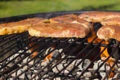 Grilla grilla stki, Piec na grillu mięso na Płonącym BBQ Obraz Stock