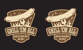 Grilla Hot Dog Emblemat Obraz Royalty Free