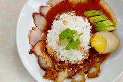 Grilla i crispy wieprzowiny sosu opatrunkowy słodki czerwony kumberland na ryż Obraz Stock