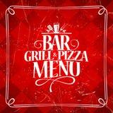 Grilla i pizzy prętowy menu Zdjęcia Stock