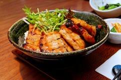 grilla japońscy wieprzowiny ryż Obrazy Stock