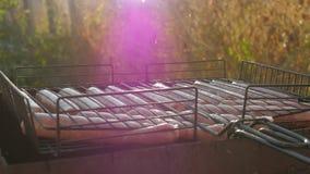 Grilla korvar på grillfestgaller Grisköttkorvar som grillar på en bärbar BBQ med korvar, slut upp av gallret, kött arkivfilmer