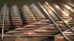 Grilla korvar på grillfestgaller Grisköttkorvar som grillar på en bärbar BBQ med korvar, slut upp av gallret, kött stock video