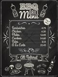 Grilla menu Chalkboard Zdjęcie Stock