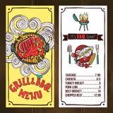 Grilla menu nakreślenie Obraz Stock