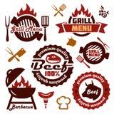 Grilla menu projekta elementy ustawiający Fotografia Stock
