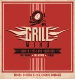 Grilla menu projekta retro plakatowy szablon Fotografia Royalty Free