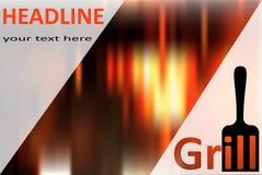 Grilla ostrze z słowo grillem i tekst piec na grillu loga Zdjęcie Royalty Free