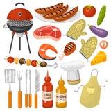 Grilla partiproduktBBQ som grillar för familjtid för kök den utomhus- illustrationen för symboler för vektorn för kokkonst vektor illustrationer