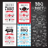 Grilla partyjny zaproszenie BBQ szablonu menu projekt Karmowa ulotka Zdjęcie Stock