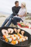 grilla plażowa kucharstwa para fotografia stock