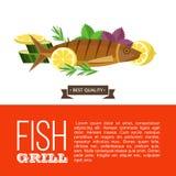 Grilla przyjęcie ryby z grilla warzywa również zwrócić corel ilustracji wektora Obraz Stock