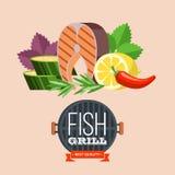 Grilla przyjęcie ryby z grilla warzywa również zwrócić corel ilustracji wektora Obraz Royalty Free