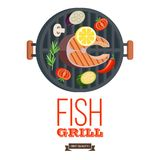 Grilla przyjęcie ryby z grilla warzywa również zwrócić corel ilustracji wektora Zdjęcia Royalty Free