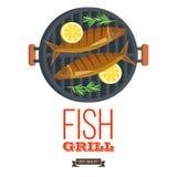 Grilla przyjęcie ryby z grilla warzywa również zwrócić corel ilustracji wektora Fotografia Stock